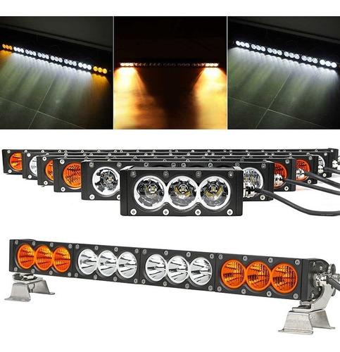 barra de led cree ambar/ blanca 120w 100mts mod 3061 alumini