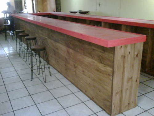 Barra de madera para bar o cantina 40 en for Barra bar madera