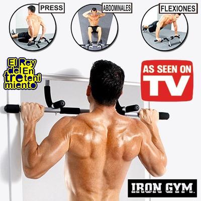 barra de puerta iron gym original de t.v portatil, garantia