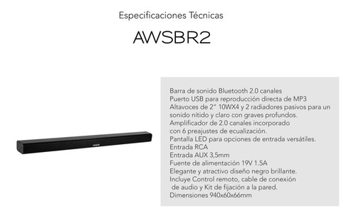 barra de sonido 40 watts marca aiwa modelo awsbr2