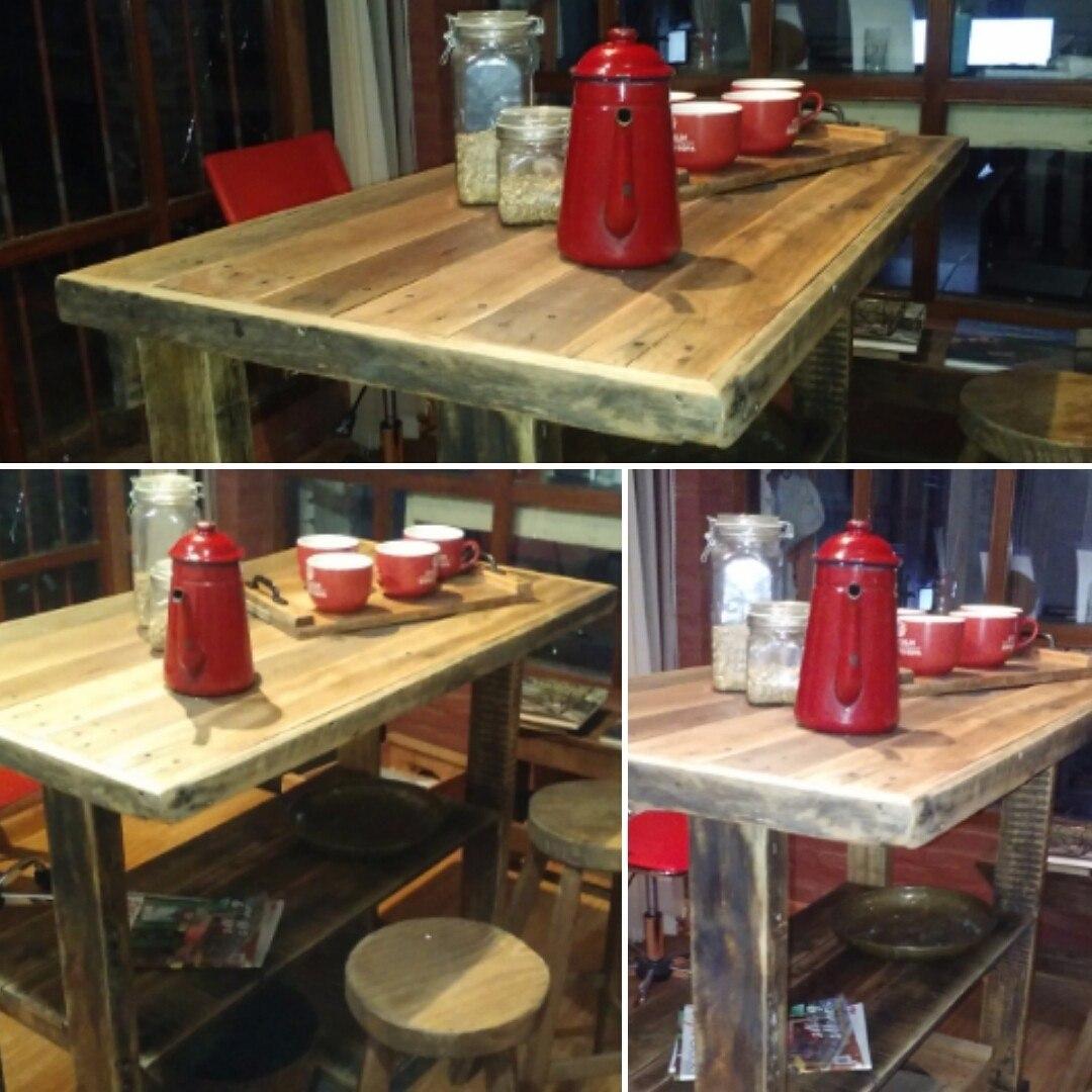 Barra desayunador aparador en madera pallet rustico 4 for Bar rustico en madera