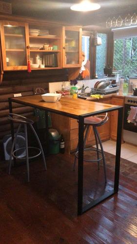 barra desayunador industrial isla cocina hierro madera padua