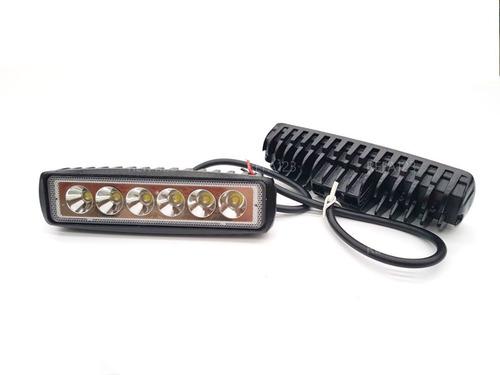 barra faro led auxiliar 6 leds 18w 2 faros con base