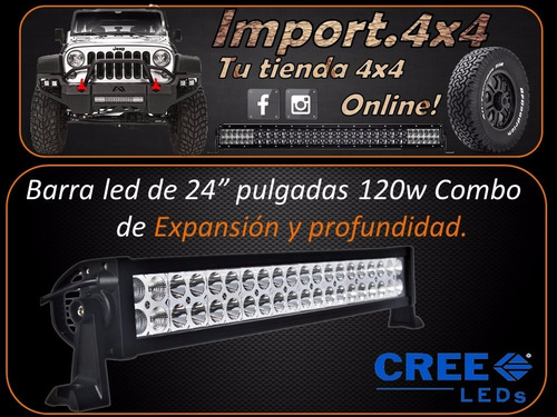 barra led 24 pulgadas cree 120w ip68 waterproof rustico 4x4