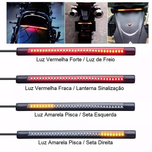 barra led universal freio pisca seta lanterna 3x1 moto carro