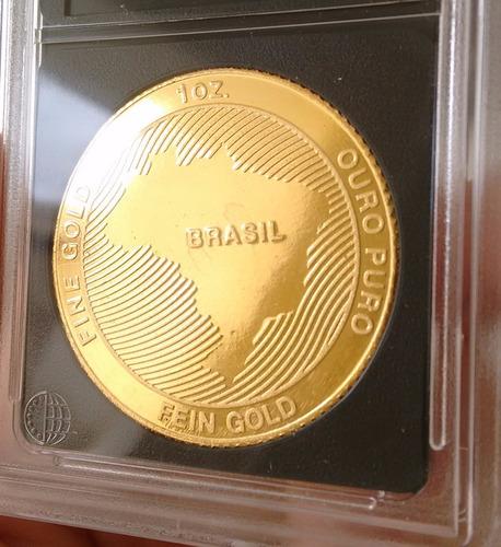 barra moeda de ouro maciço 24k puro 31.1g - 1 onça troi