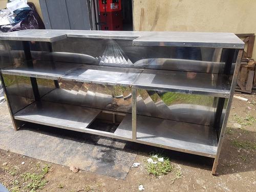 barra / mostrador grande de acero inoxidable