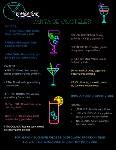 barra movil coctelera de luces led/ cocteles/ bartenders.