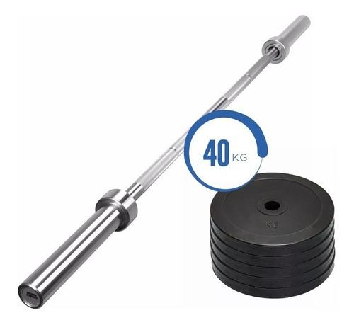 barra olímpica 20 kg + 40 kg discos engomados - sdmed er
