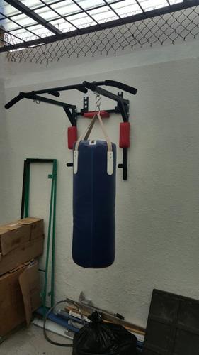 barra para dominadas, fondos, y soporte para costal de box
