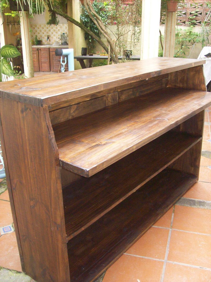 Barra parrillero doble tapa madera maciza rustica 12 for Barras para bares rusticos