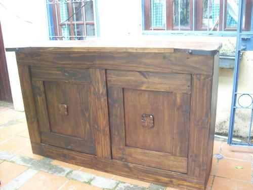 Barra parrillero doble tapa madera maciza rustica 12 for Muebles maldonado precios
