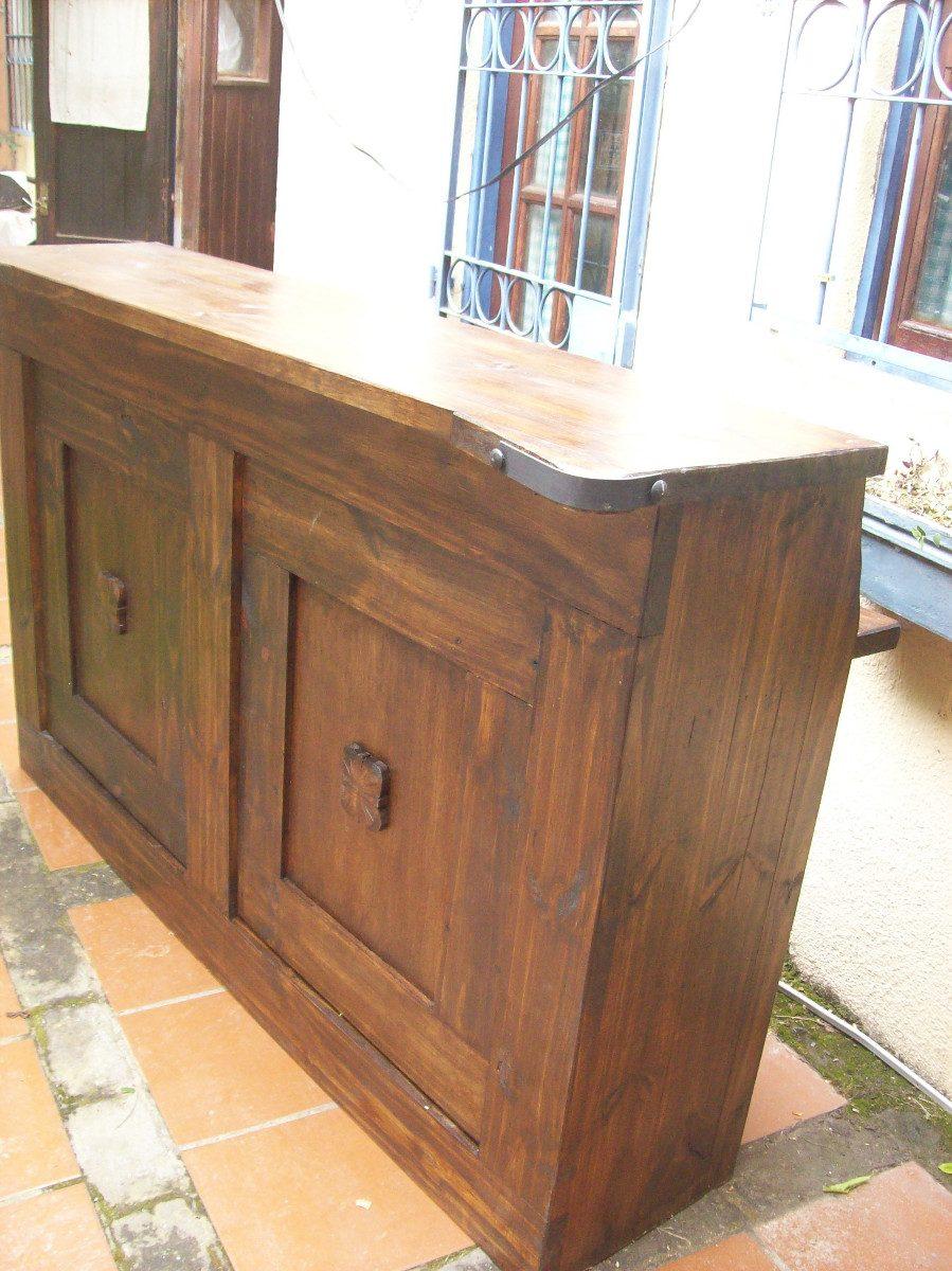 Barra parrillero doble tapa madera maciza rustica 12 for Barras rusticas de madera para bares