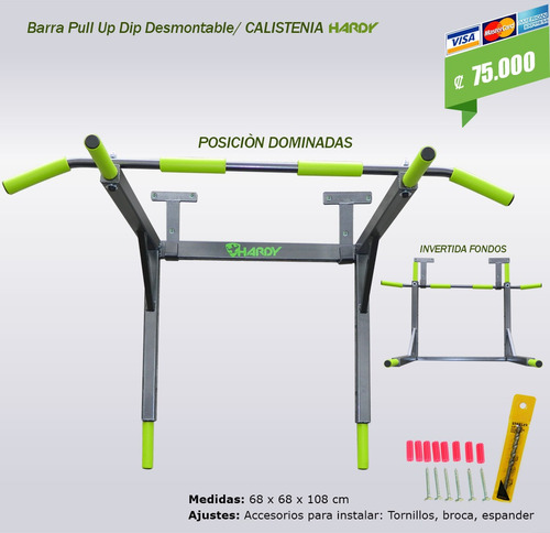 barra  pull up dip  y fondos dominadas (calistenia) hardy