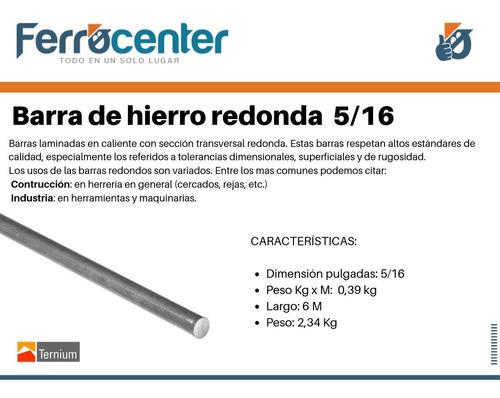 barra redonda hierro 5/16'' - 6 mts de largo - oferta!