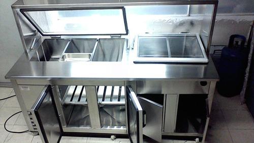 barra refrigerada  con azafates tipo subway