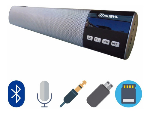 barra sonido bluetooth 40cm pantalla led 10w usb, fm, sd + o