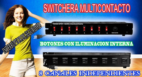 barra switchera 8 multicontactos para rack o uso lineal wow.