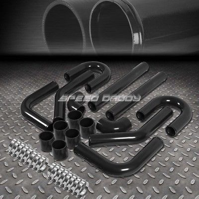 """Universal High Quality 2.5/"""" Aluminum Intercooler 8Pc Black Piping Kit With Clamp"""