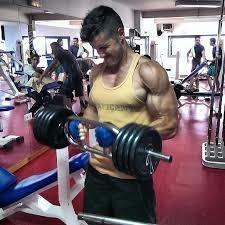 barra z curva con seguros vincha biceps pecho brazos gym