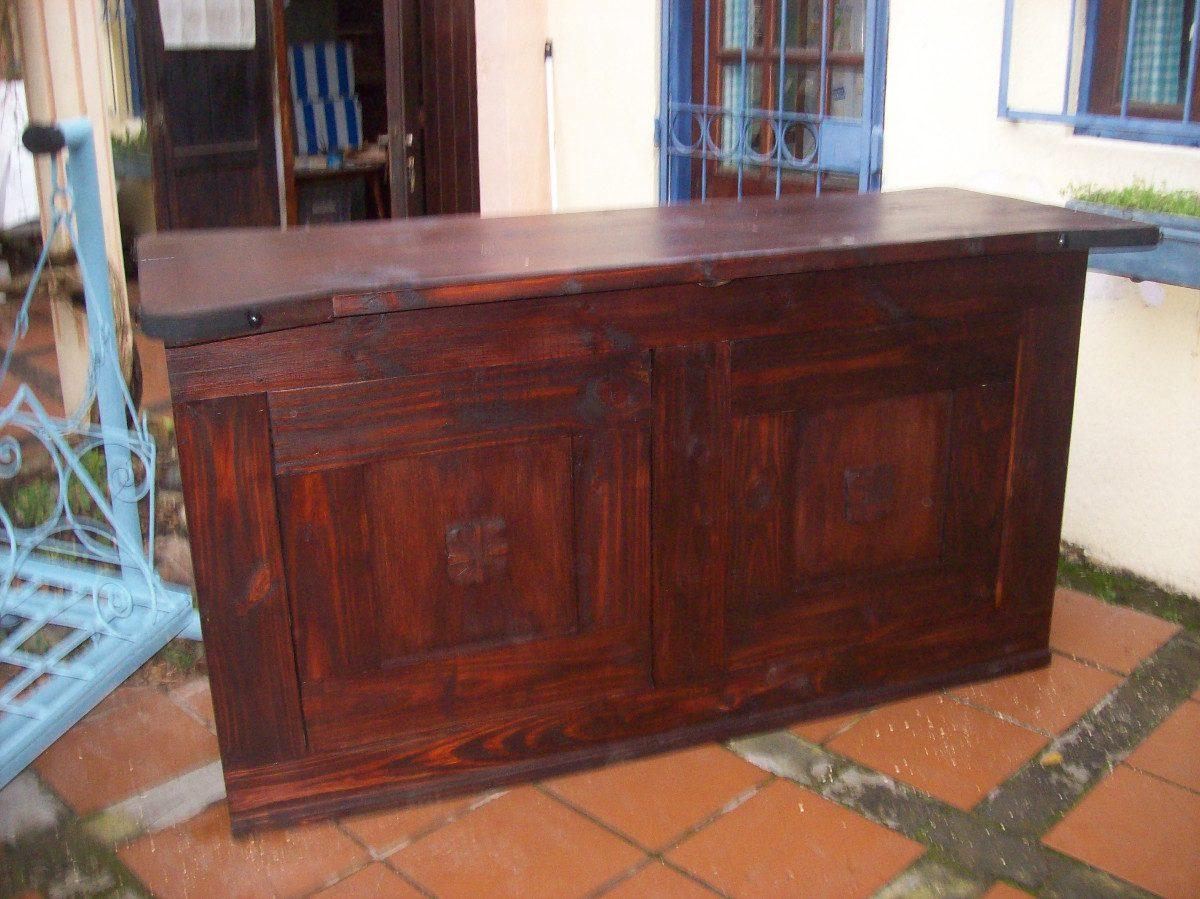 Barra bar madera maciza c puertas y cajones for Barras de bar de madera