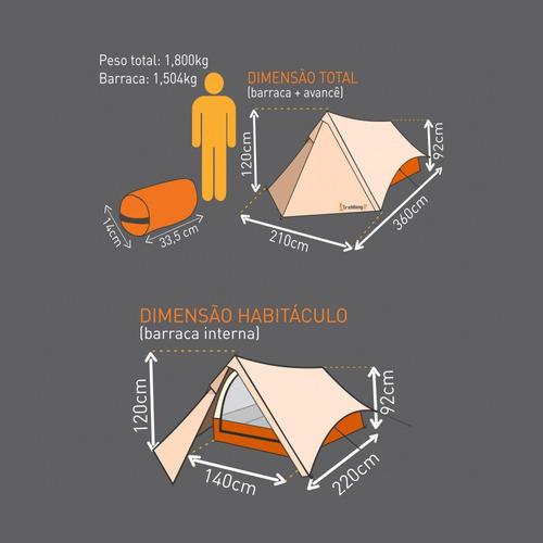 barraca camping 2 pessoas acampamento guepardo trekking 2
