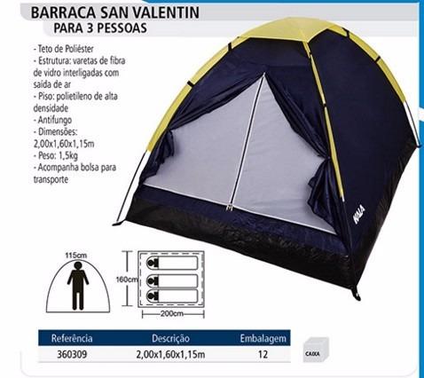 barraca camping 3 pessoas san valentin  -retire em samambaia