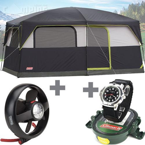 barraca camping grande 9 pessoas coleman +luminaria +brinde
