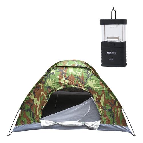 barraca de camping 3 pessoas camuflada + mini lampião de led