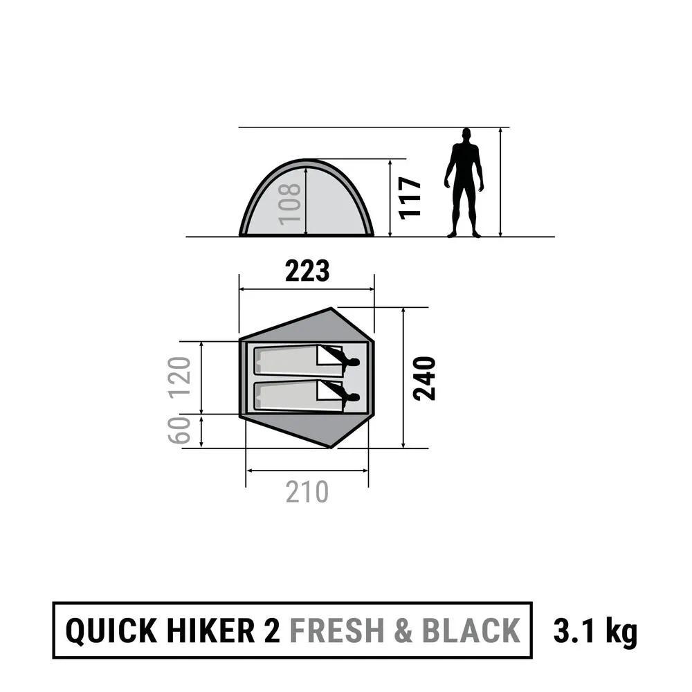 cf193e018 Barraca De Trekking Quick Hiker 2 Fresh   Black 2 Pessoas - R  969 ...
