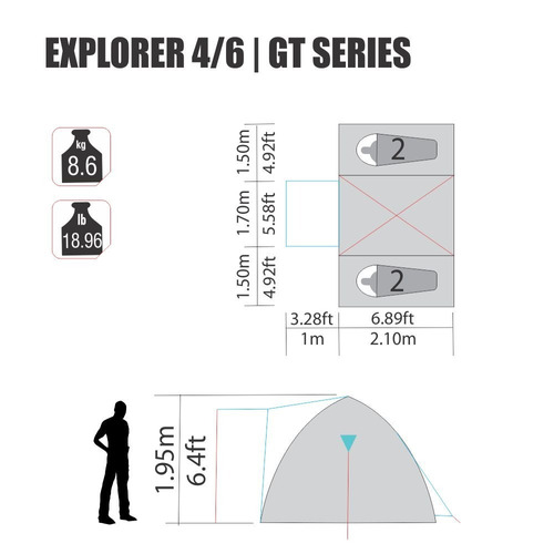 barraca explorer 4/6 gt nautika 3 quartos separados