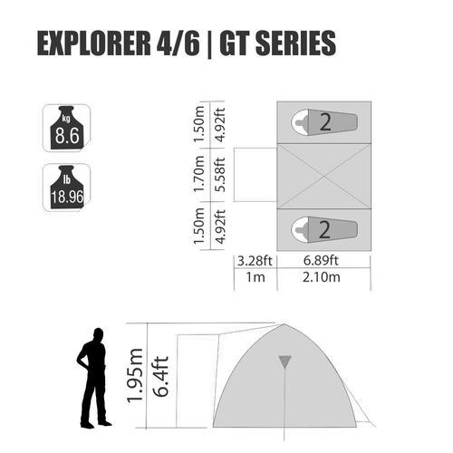 barraca explorer 4/6 pessoas iglu com sobreteto nautika