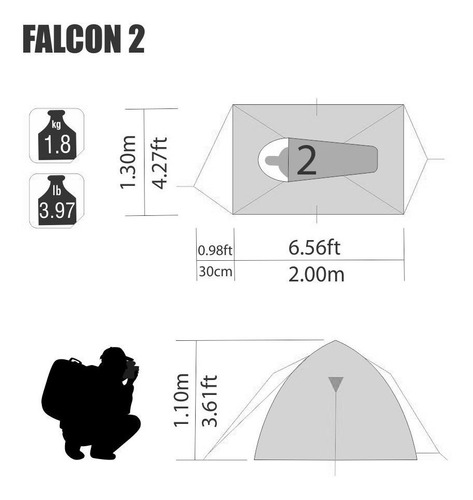 barraca falcon 2 pessoas nautika + aquecedor grátis