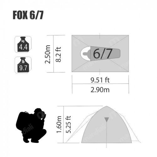 barraca fox 6/7 pessoas coluna d água 600 mm nautika