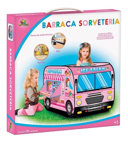 barraca infantil com sorveteria cozinha com janela meninas