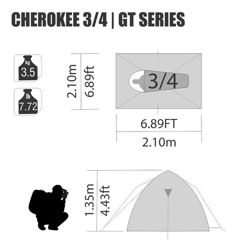 barraca nautika cherokee gt 3/4 pessoas impermeável 2500mm