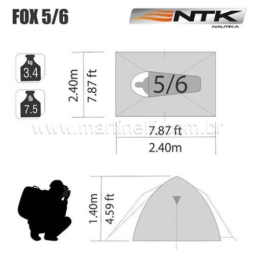 barraca nautika fox 5/6 pessoas resistente fácil de armar