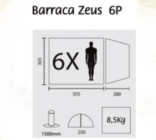 barraca zeus 6 pessoas gigante guepardo 2m altura c/varanda