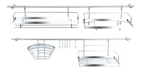 barral cocina acero organizador cromado accesorios colgantes