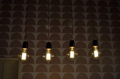 barral colgante 4 luces e27 edison cable tela diseño colores