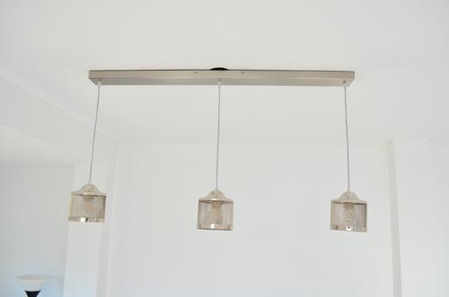 barral colgante industrial niquel brillo platil 3 luces