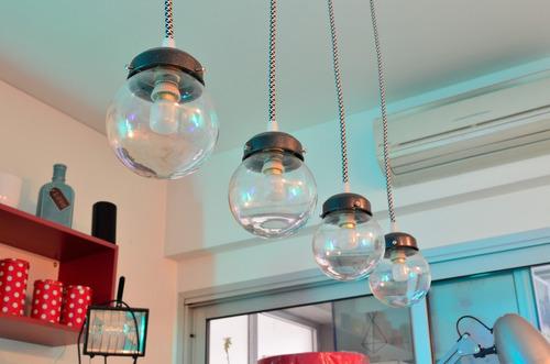 barral colgante techo 4 luces esfera diseño cable textil