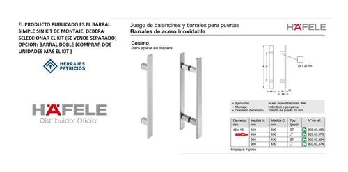 barral manijon hafele 903.03.374 cosimo 600mm acero inox