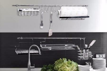 barral organizador de cocina rack colgante cromado amurable