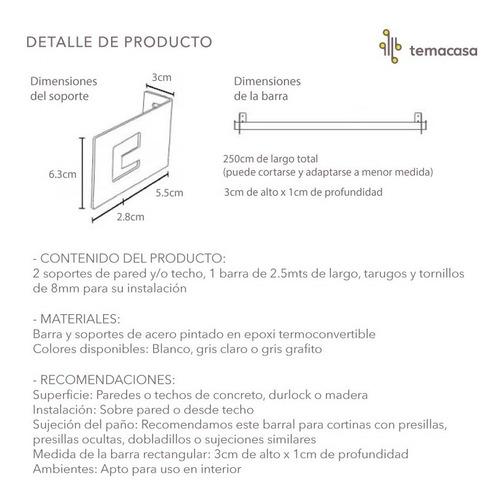 barral rectangular para roller temacasa de 2.5mts presillas