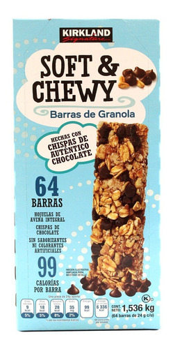 barras de granola soft & chewy kirkland 64 pzs de 24gr c/u