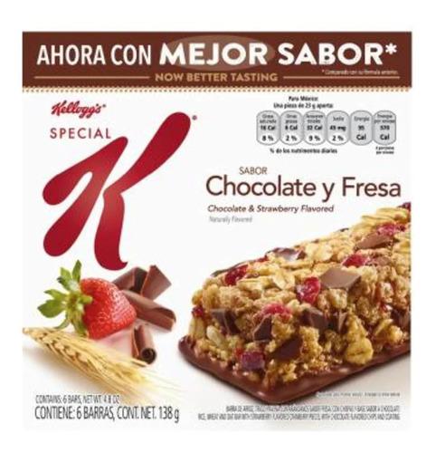barras kellogg's special k sabor chocolate y fresa 6 pzas