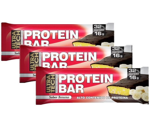 barras proteicas ultra tech, banana o chocolate caja x 12