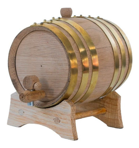 barril de roble para 1 litro aros de laton, personalizado.
