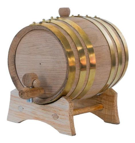 barril de roble para 3 litros aros de laton, personalizado.